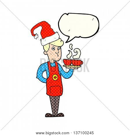 freehand drawn comic book speech bubble cartoon barista serving coffee at christmas