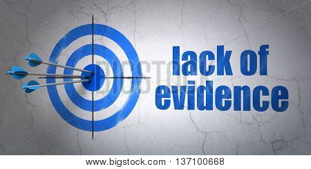 Success law concept: arrows hitting the center of target, Blue Lack Of Evidence on wall background, 3D rendering