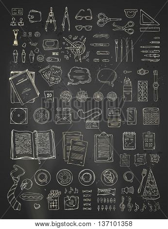 Doodles chalk gadgets and stationery supplies food and plants. Top view. Design elements for work and education.