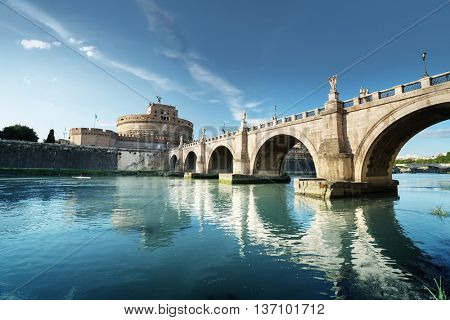 Sant Angelo Castle and Bridge in sunset time, Rome, Italia