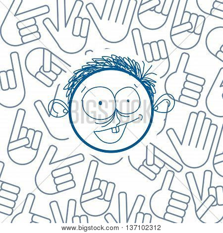 Vector art colorful drawing of happy person education and social network design elements hand signs isolated on white. Allegory illustration emotions and human temperament concept.