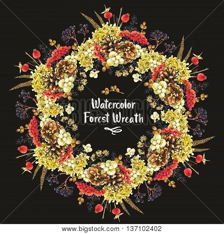 Beautiful christmas wreath and headline with winter plants: rowan viburnum pinecone snowberry and hydrangea. Black background.