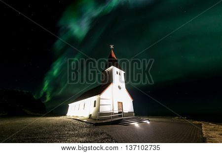 The Northern Light Aurora borealis at Vik Church Iceland