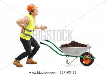 Injured worker transporting dirt with a wheelbarrow isolated on white background