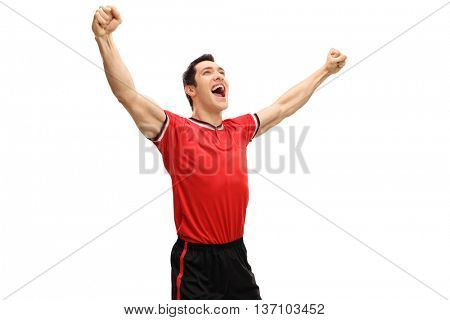 Studio shot of an overjoyed sportsman gesturing happiness isolated on white background