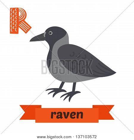 Raven. R Letter. Cute Children Animal Alphabet In Vector. Funny Cartoon Animals