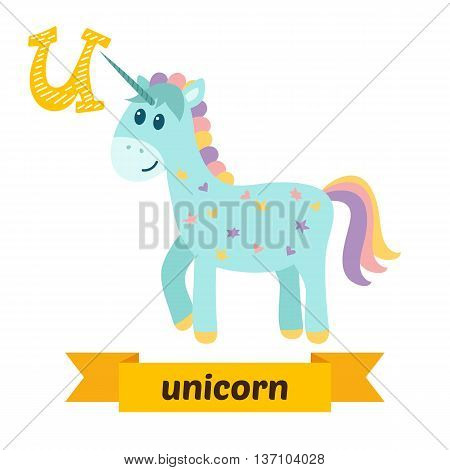 Unicorn. U Letter. Cute Children Animal Alphabet In Vector. Funny Cartoon Animals