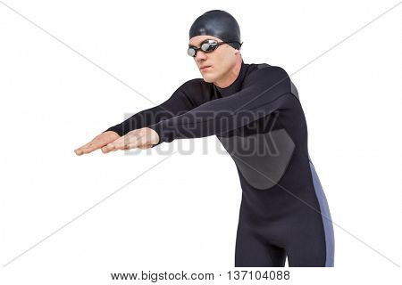 Swimmer in wetsuit while diving on white background