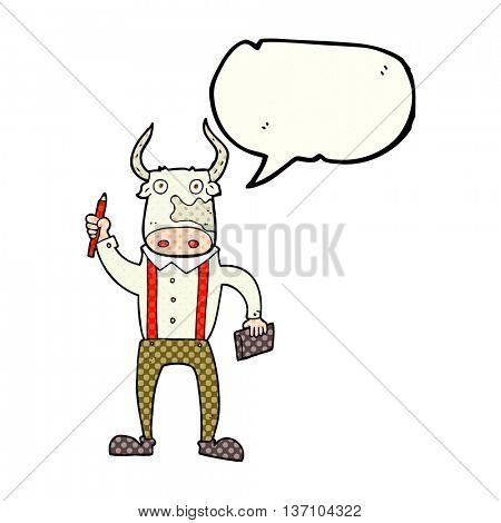 freehand drawn comic book speech bubble cartoon bull man