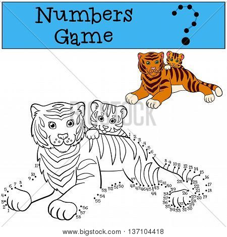 Educational Games For Kids: Numbers Game. Mother Tiger With Her Little Cute Baby Tiger.
