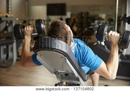 Man works out with dumbbells on a bench at a gym, back view