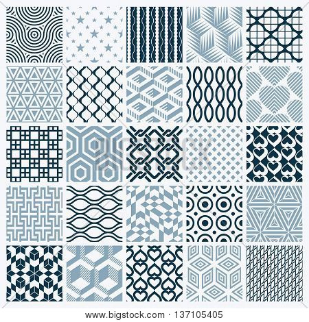 Vector graphic vintage textures created with squares rhombuses and other geometric shapes. Monochrome seamless patterns collection