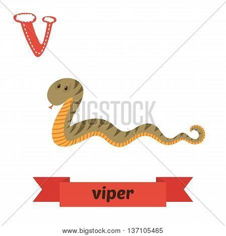 Viper. V Letter. Cute Children Animal Alphabet In Vector. Funny Cartoon Animals