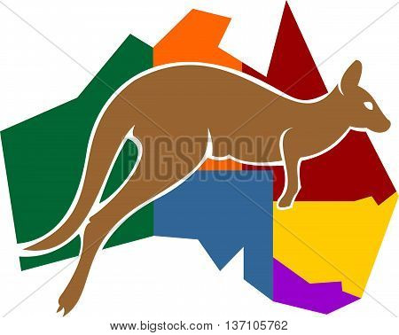 stock logo illustration traveling island of kangaroo