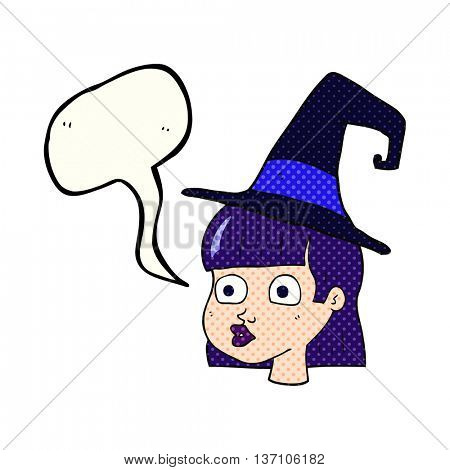 freehand drawn comic book speech bubble cartoon witch