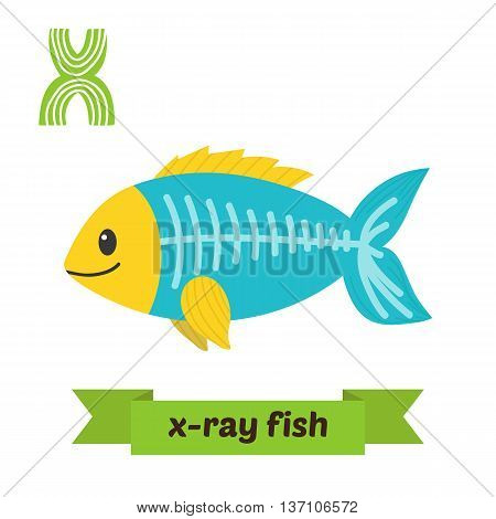 X-ray Fish. X Letter. Cute Children Animal Alphabet In Vector. Funny Cartoon Animals