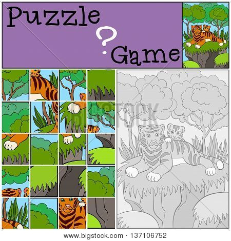 Education Games For Kids. Puzzle. Mother Tiger With Her Little Cute Baby.