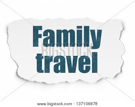 Vacation concept: Painted blue text Family Travel on Torn Paper background with  Tag Cloud