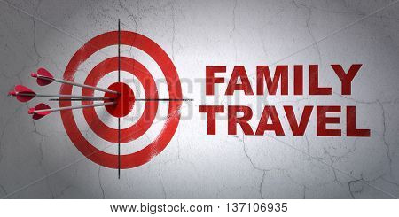 Success vacation concept: arrows hitting the center of target, Red Family Travel on wall background, 3D rendering