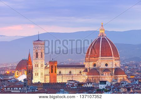 Duomo Santa Maria Del Fiore at nihjt from Piazzale Michelangelo in Florence, Tuscany, Italy