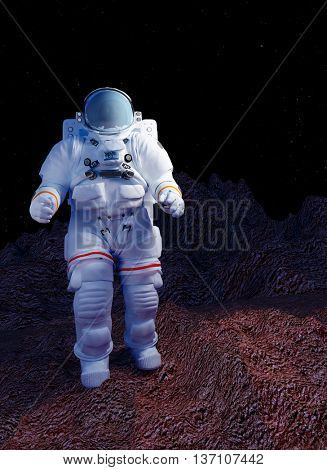 Astronaut moves around the planet,3d render