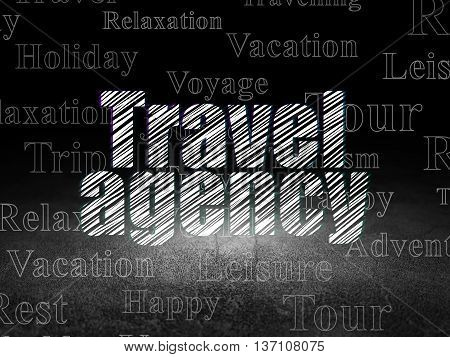 Vacation concept: Glowing text Travel Agency in grunge dark room with Dirty Floor, black background with  Tag Cloud