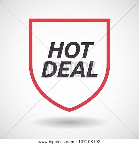Isolated Line Art Shield Icon With    The Text Hot Deal