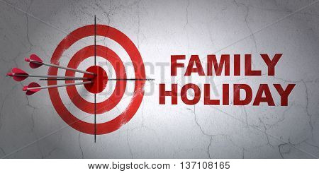 Success travel concept: arrows hitting the center of target, Red Family Holiday on wall background, 3D rendering
