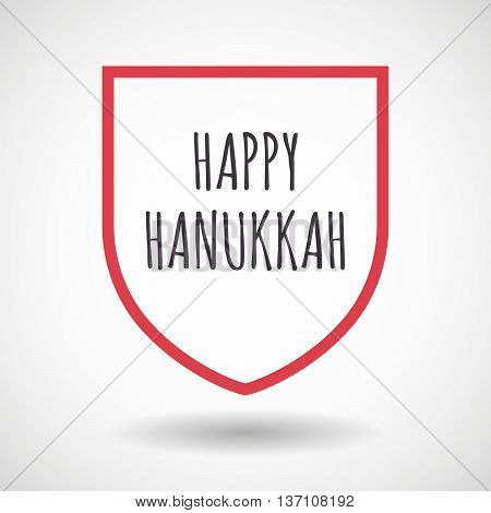 Isolated Line Art Shield Icon With    The Text Happy Hanukkah