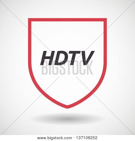 Isolated Line Art Shield Icon With    The Text Hdtv