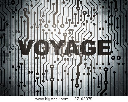 Travel concept: circuit board with  word Voyage, 3D rendering