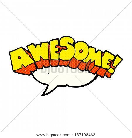 freehand drawn comic book speech bubble cartoon word awesome