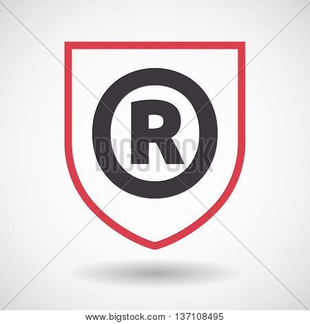 Isolated Line Art Shield Icon With    The Registered Trademark Symbol