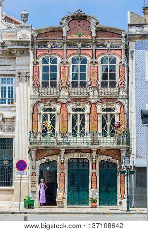 Art Deco Facade Of A Building In Aveiro, Portugal.