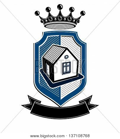 Imperial coat of arms royal house conceptual vector symbol. Protection shield with 3d king crown.