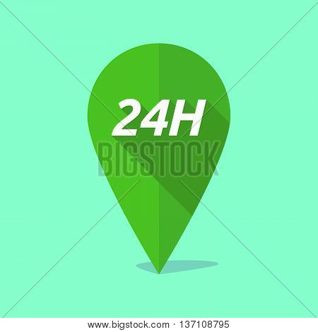 Long Shadow Map Mark Icon With    The Text 24H