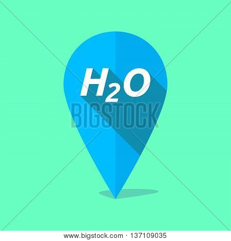 Long Shadow Map Mark Icon With    The Text H2O