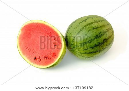 Close-up water melon fruit on white backgroud