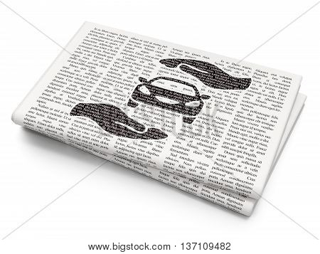 Insurance concept: Pixelated black Car And Palm icon on Newspaper background, 3D rendering