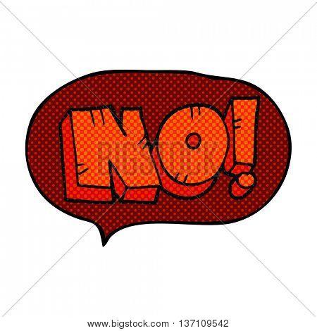 freehand drawn comic book speech bubble cartoon NO! shout