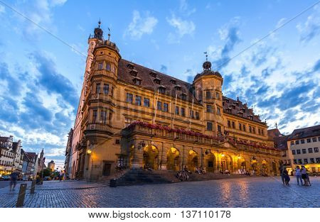Rothenburg ODT City hall of historic town, Franconia, Bavaria, Germany sunset