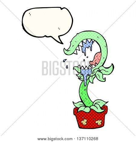 freehand drawn comic book speech bubble cartoon carnivorous plant