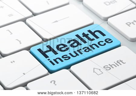 Insurance concept: computer keyboard with word Health Insurance, selected focus on enter button background, 3D rendering