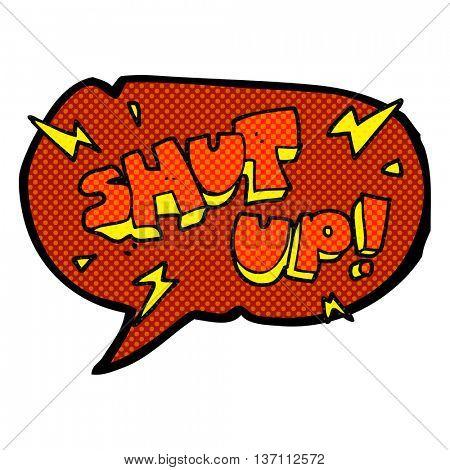 freehand drawn comic book speech bubble cartoon shut up! symbol