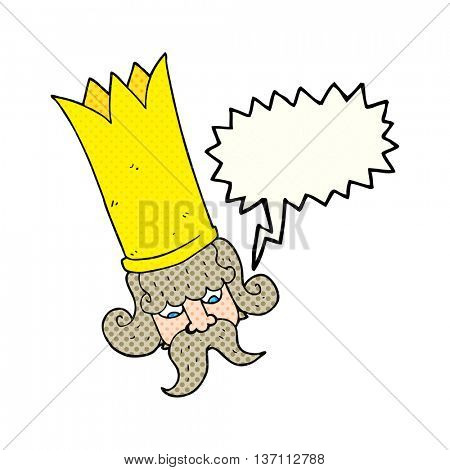 freehand drawn comic book speech bubble cartoon king with huge crown