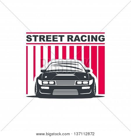 Sport car logo template illustration on white background.