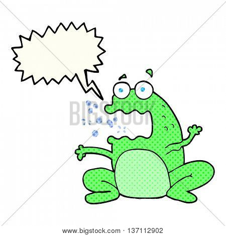 freehand drawn comic book speech bubble cartoon burping frog