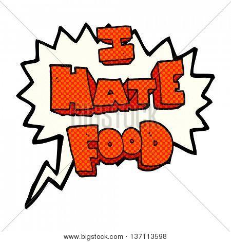 freehand drawn comic book speech bubble cartoon i hate food symbol