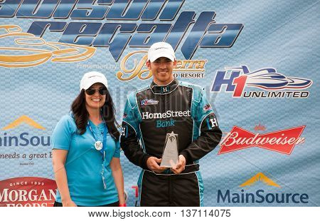 Madison Indiana - July 2 2016: Jimmy Shane accepts an award for winning the Clifty Engineering and Tool Company Unlimited Heat 1A at the Madison Regatta in Madison Indiana July 2 2016.