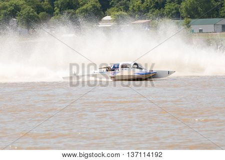 Madison Indiana - July 2 2016: Danny Walls drives the GNH 68 hydroplane at the Madison Regatta in Madison Indiana July 2 2016.